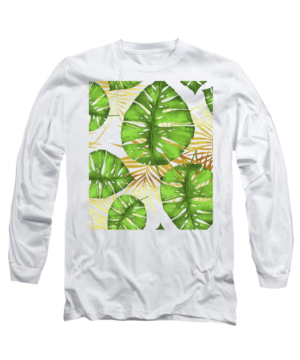 Gold Long Sleeve T-Shirt featuring the painting Tropical Haze Green Monstera Leaves And Golden Palm Fronds by Tina Lavoie