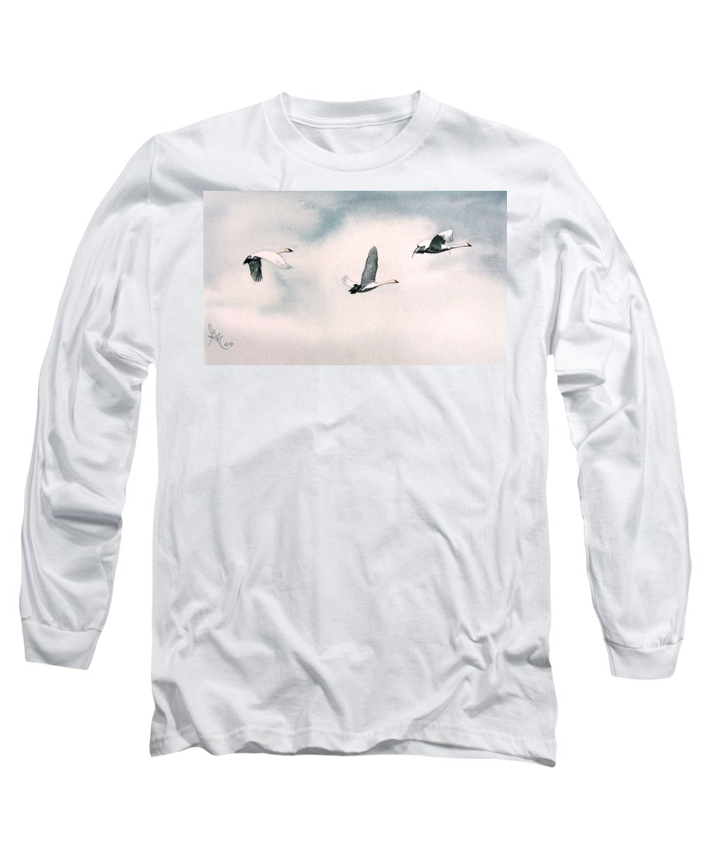 Swans Long Sleeve T-Shirt featuring the painting Trumpeters by Gale Cochran-Smith