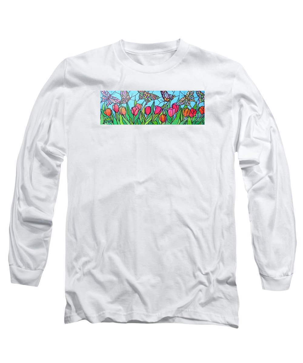 Spring Long Sleeve T-Shirt featuring the painting Tulips And Butterflies by Jim Harris