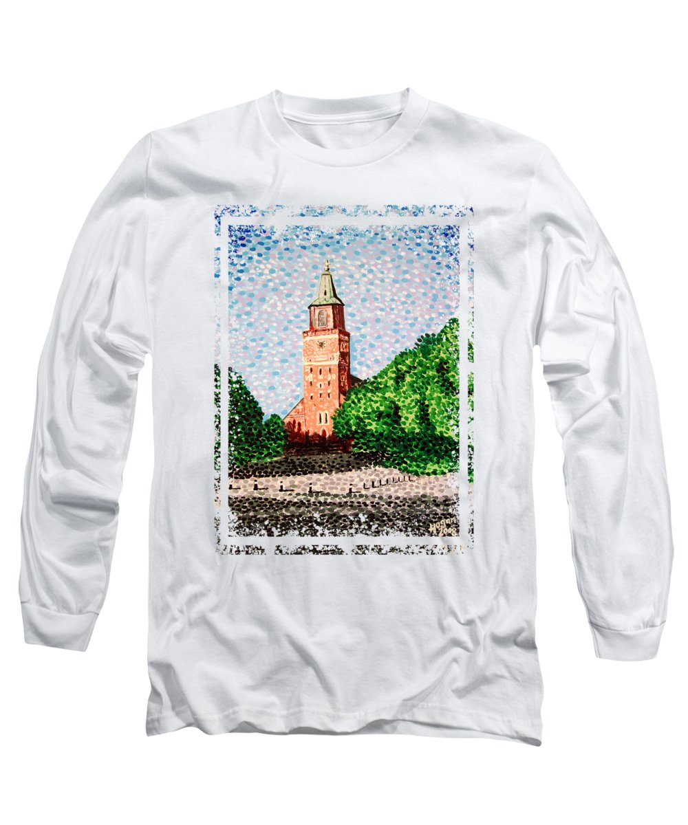 Finnish Long Sleeve T-Shirt featuring the painting Turku Cathedral by Alan Hogan