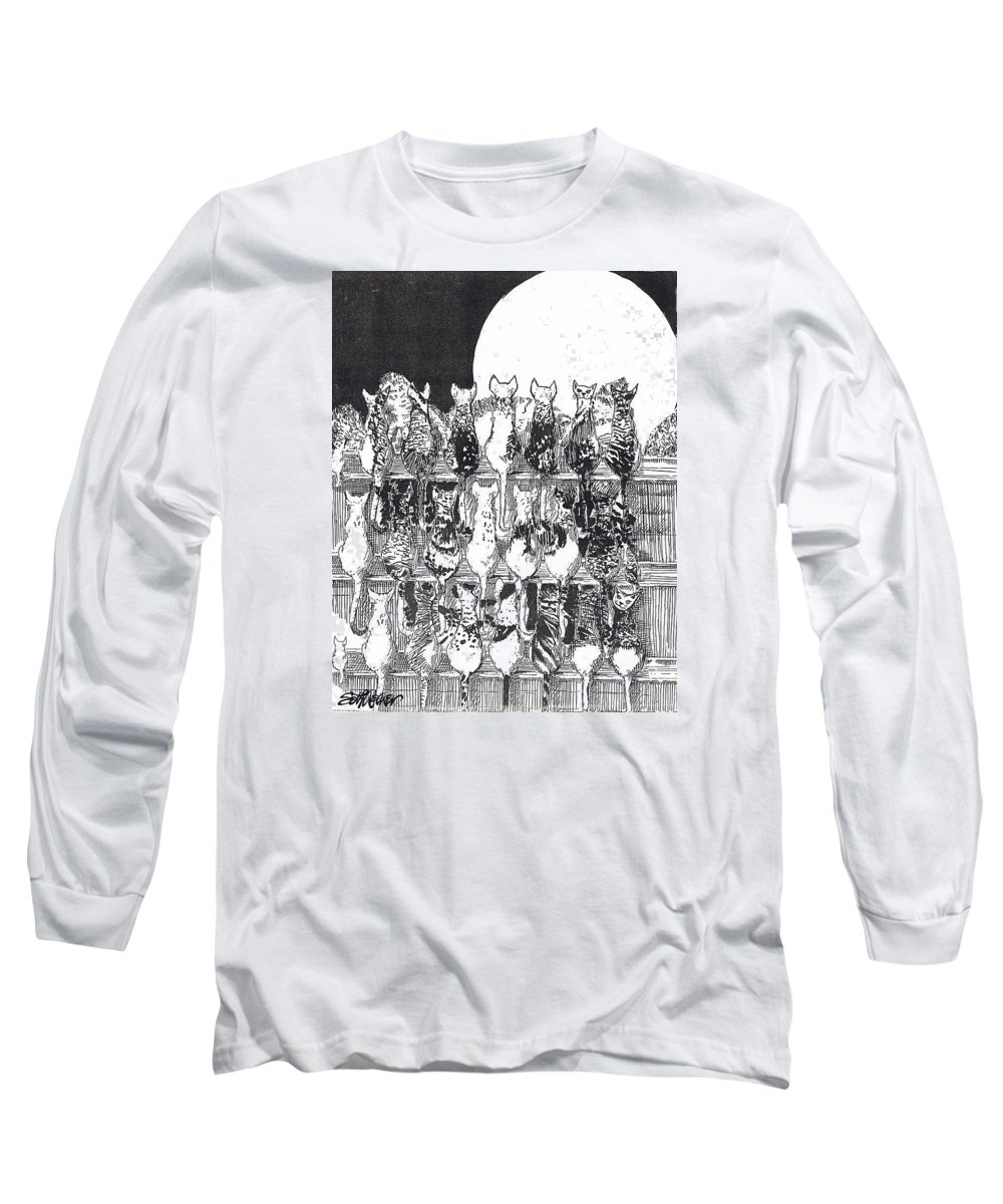 Cats Long Sleeve T-Shirt featuring the drawing Two Dozen And One Cats by Seth Weaver
