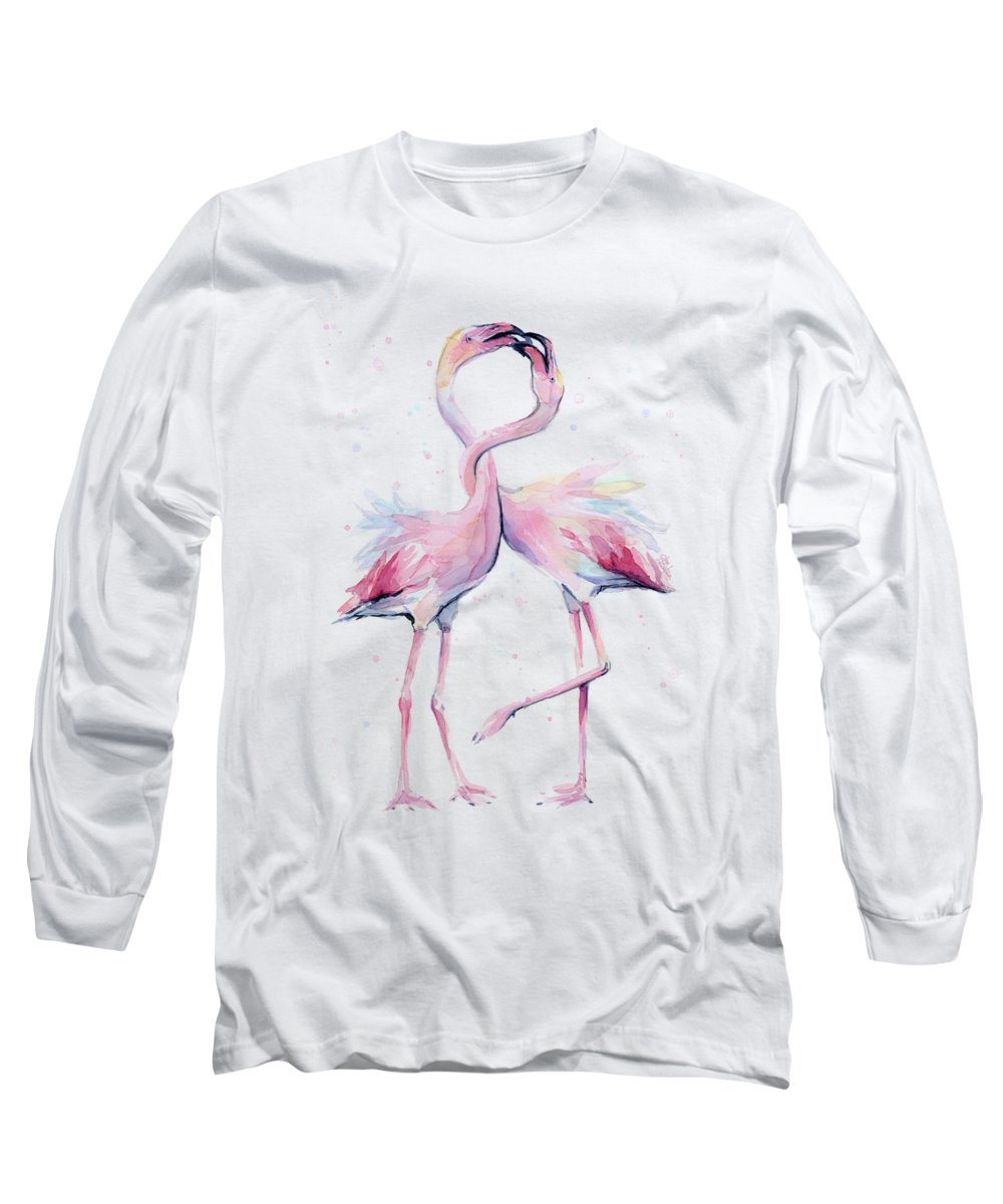 Flamingos Long Sleeve T-Shirt featuring the painting Two Flamingos Watercolor Famingo Love by Olga Shvartsur