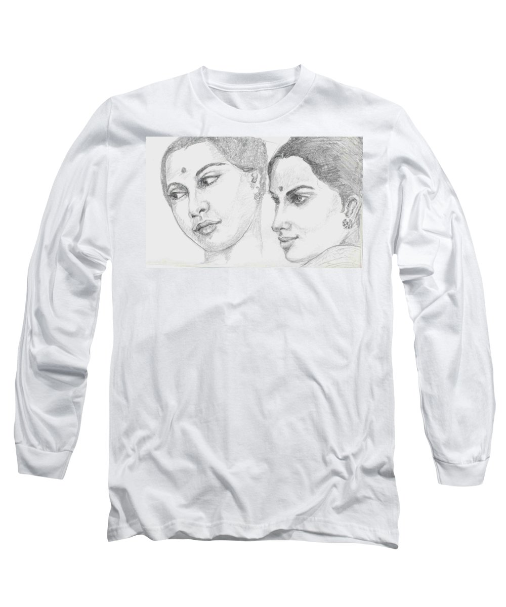 Sketch Of Indian Women Long Sleeve T-Shirt featuring the drawing Two Indian Women by Asha Sudhaker Shenoy