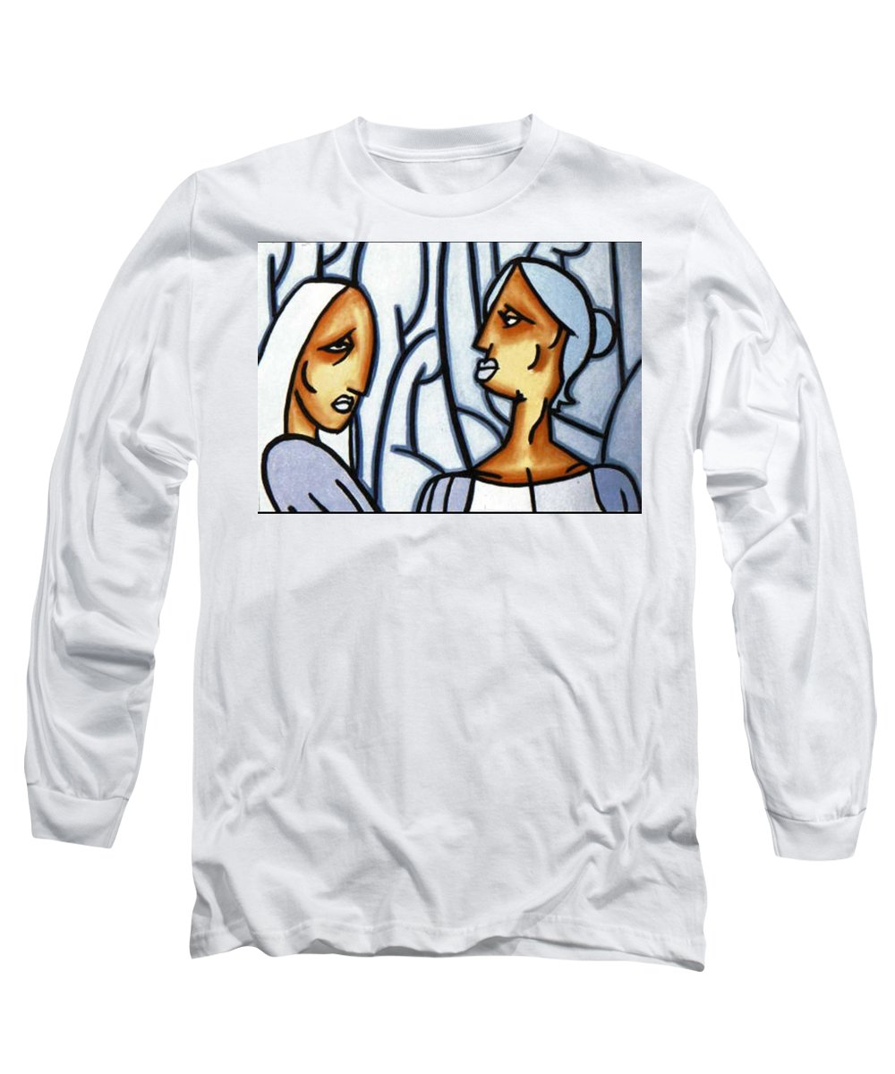 Portrait Long Sleeve T-Shirt featuring the painting Two Ladies by Thomas Valentine
