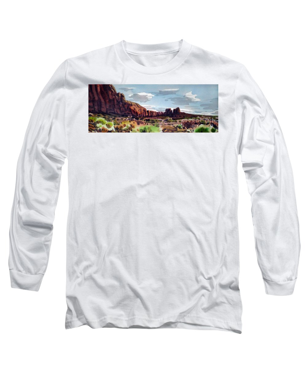 Horses Long Sleeve T-Shirt featuring the painting Two Mustangs by Donald Maier