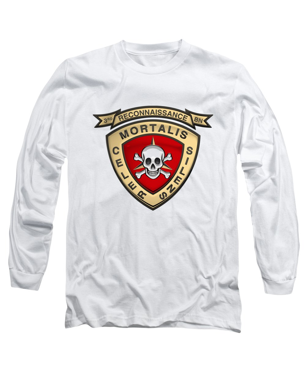 'military Insignia & Heraldry' Collection By Serge Averbukh Long Sleeve T-Shirt featuring the digital art U S M C 3rd Reconnaissance Battalion - 3rd Recon Bn Insignia Over White Leather by Serge Averbukh