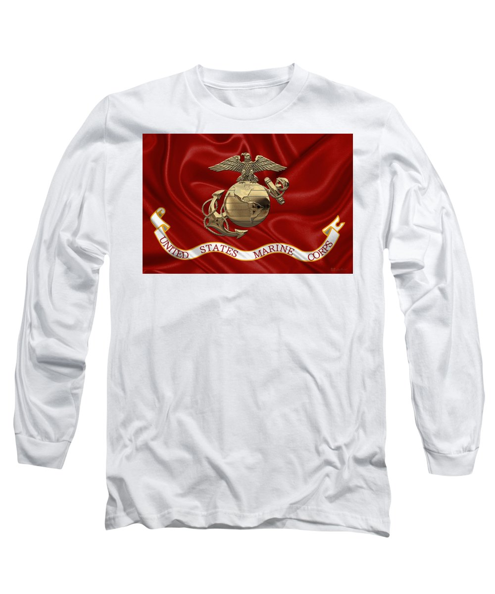 'usmc' Collection By Serge Averbukh Long Sleeve T-Shirt featuring the digital art U. S. Marine Corps - N C O Eagle Globe And Anchor Over Corps Flag by Serge Averbukh