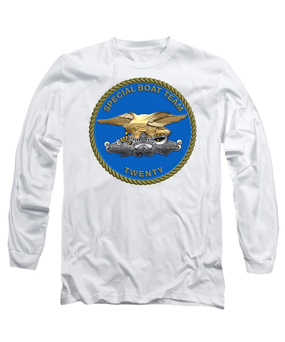 'military Insignia & Heraldry - Nswc' Collection By Serge Averbukh Long Sleeve T-Shirt featuring the digital art U. S. Navy S W C C - Special Boat Team 20  - S B T 20  Patch Over White Leather by Serge Averbukh