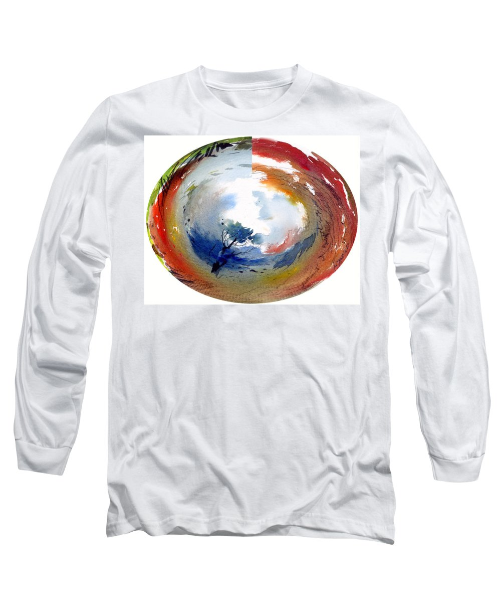 Landscape Water Color Watercolor Digital Mixed Media Long Sleeve T-Shirt featuring the painting Universe by Anil Nene