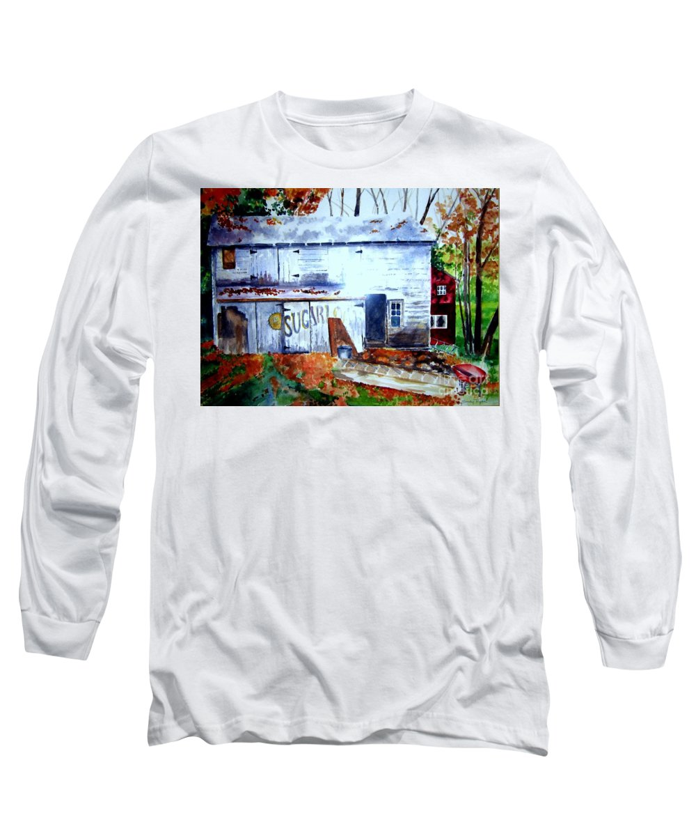Autumn Long Sleeve T-Shirt featuring the painting Upstate Barn by Sandy Ryan