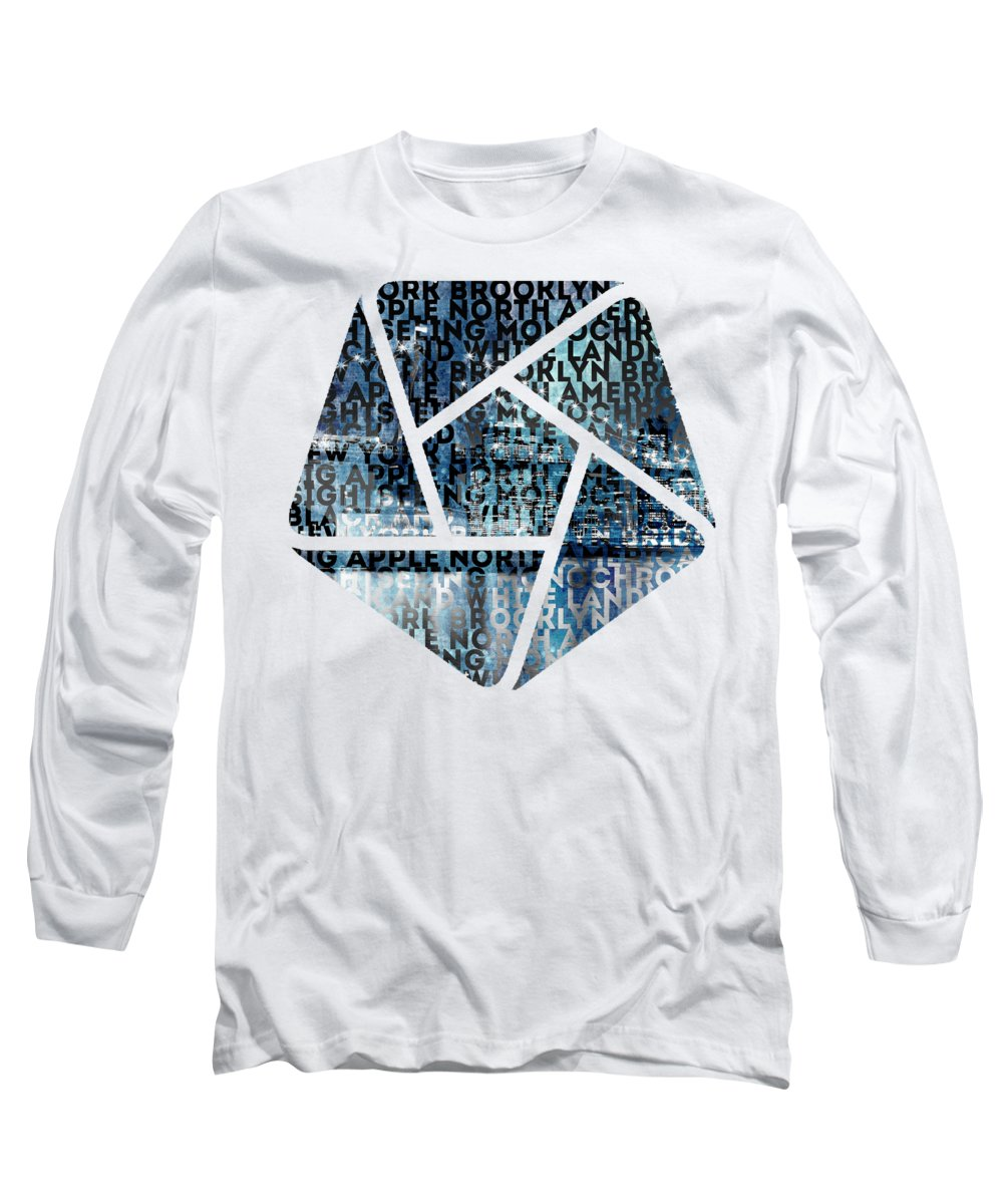 Abstract Long Sleeve T-Shirt featuring the photograph Urban-art Nyc Brooklyn Bridge I by Melanie Viola