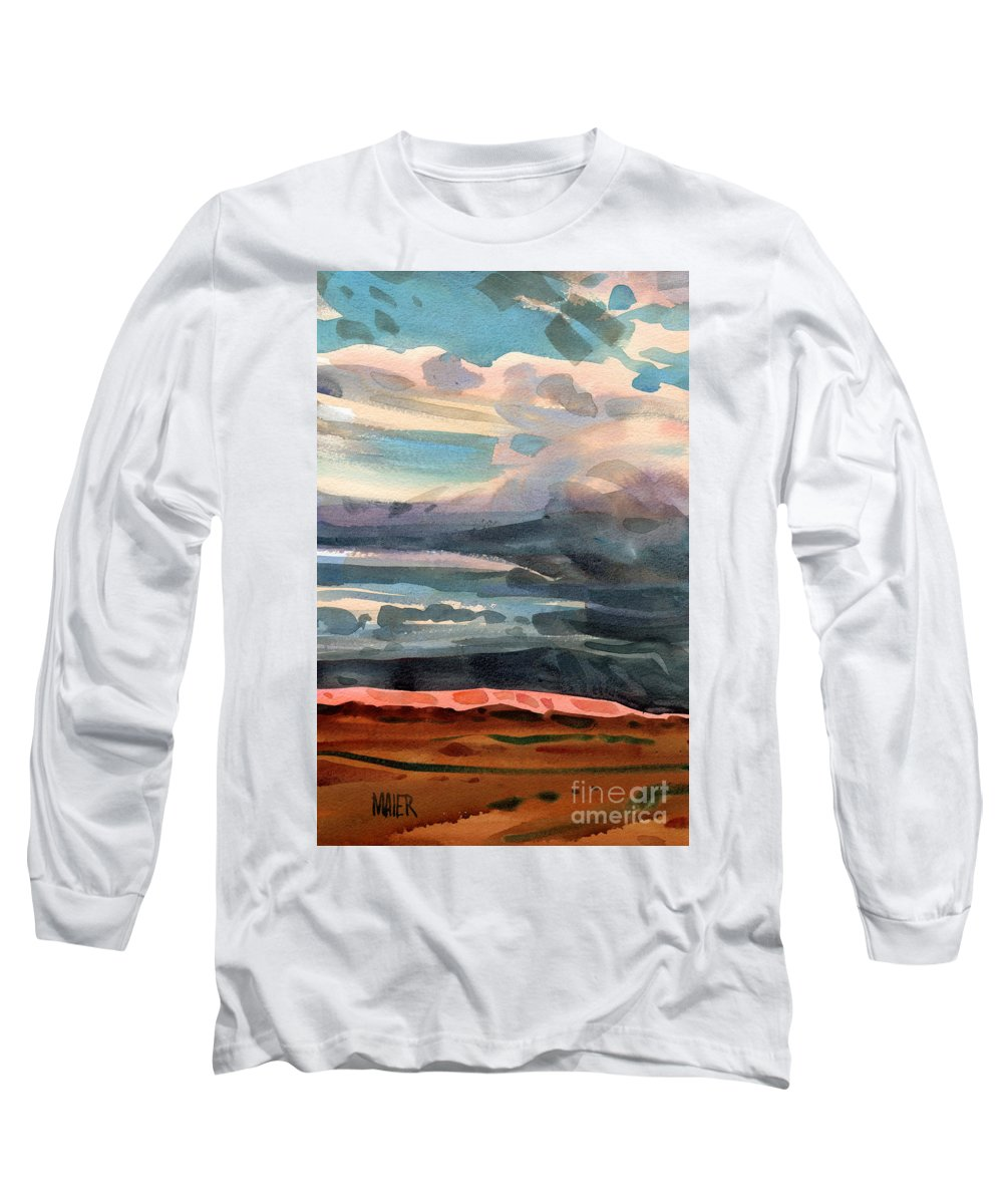 Western Landscape Long Sleeve T-Shirt featuring the painting Utah Skyline by Donald Maier