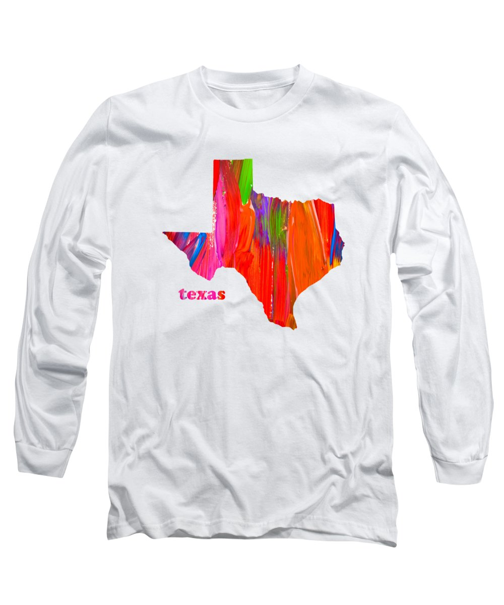 Vibrant Long Sleeve T-Shirt featuring the mixed media Vibrant Colorful Texas State Map Painting by Design Turnpike