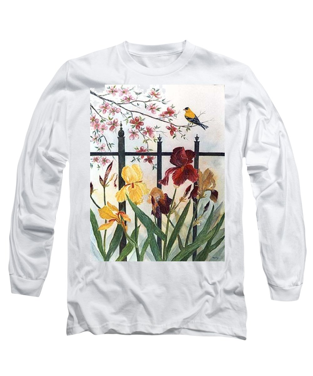 Irises; American Goldfinch; Dogwood Tree Long Sleeve T-Shirt featuring the painting Victorian Garden by Ben Kiger