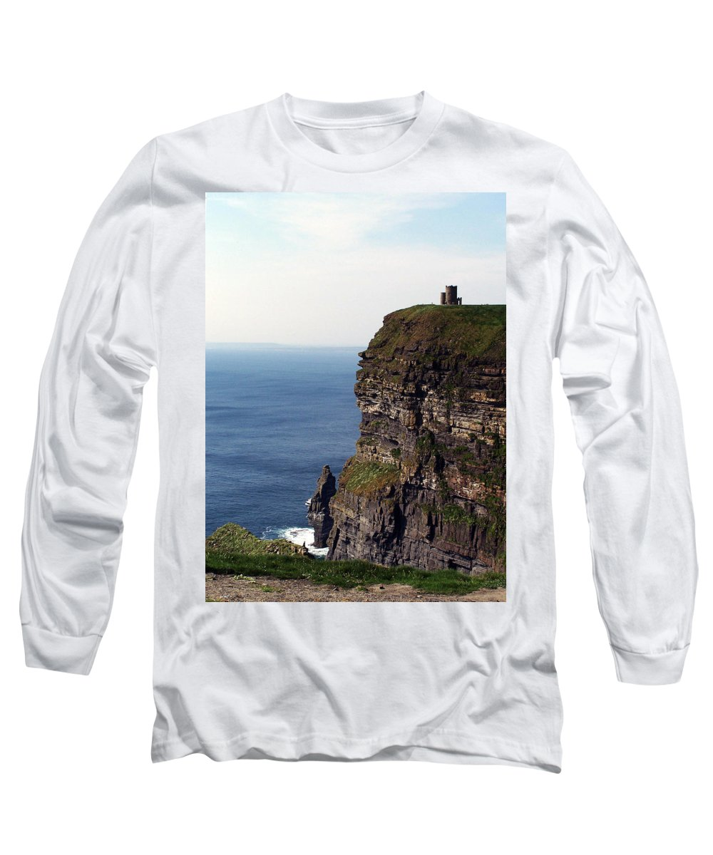 Irish Long Sleeve T-Shirt featuring the photograph View Of Aran Islands And Cliffs Of Moher County Clare Ireland by Teresa Mucha