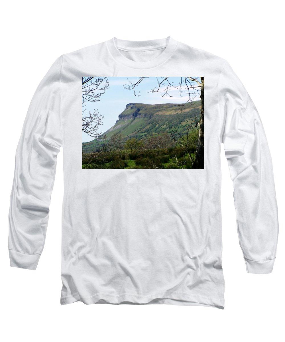 Irish Long Sleeve T-Shirt featuring the photograph View Of Benbulben From Glencar Lake Ireland by Teresa Mucha