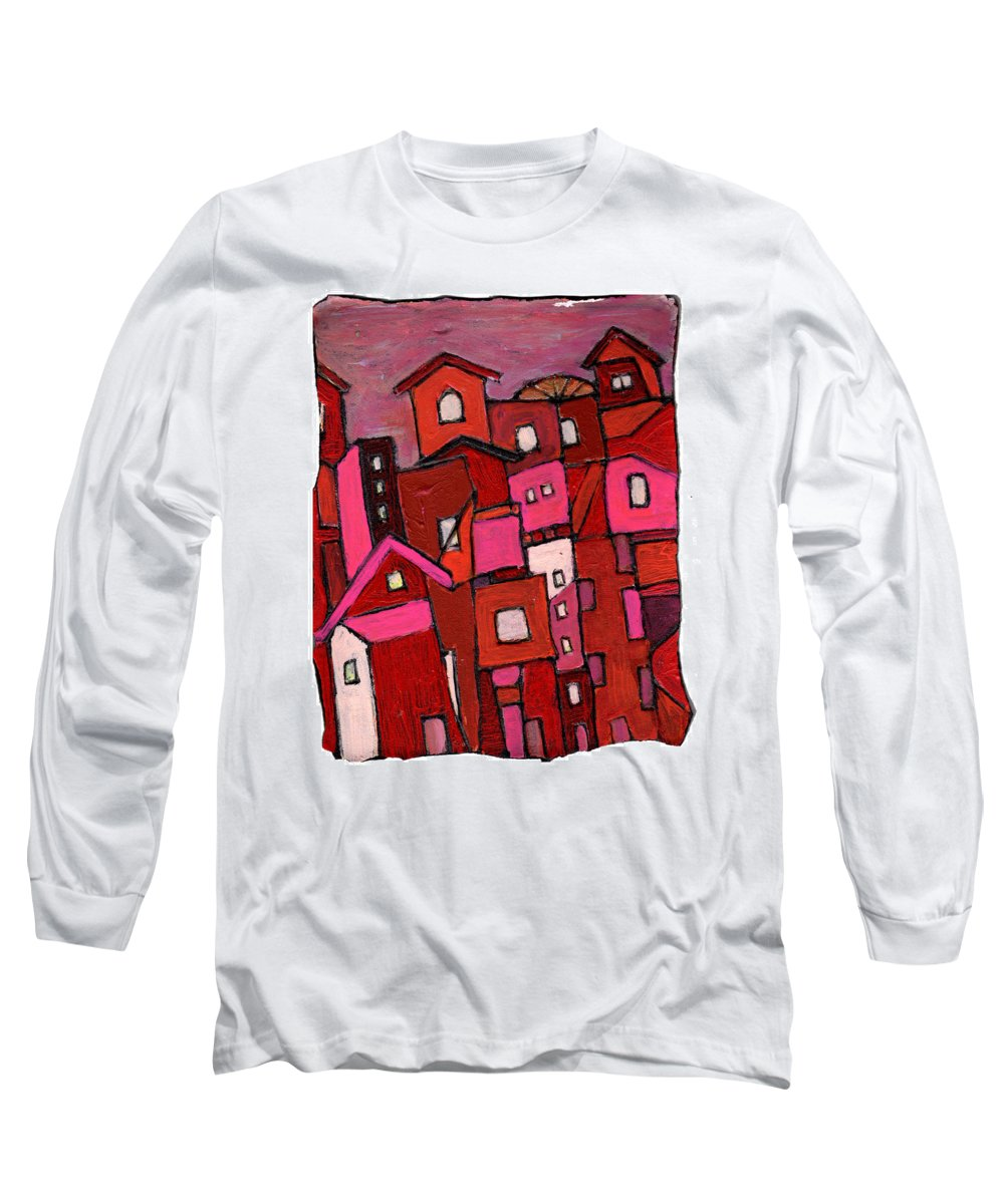Village Long Sleeve T-Shirt featuring the painting Village In Pink by Wayne Potrafka
