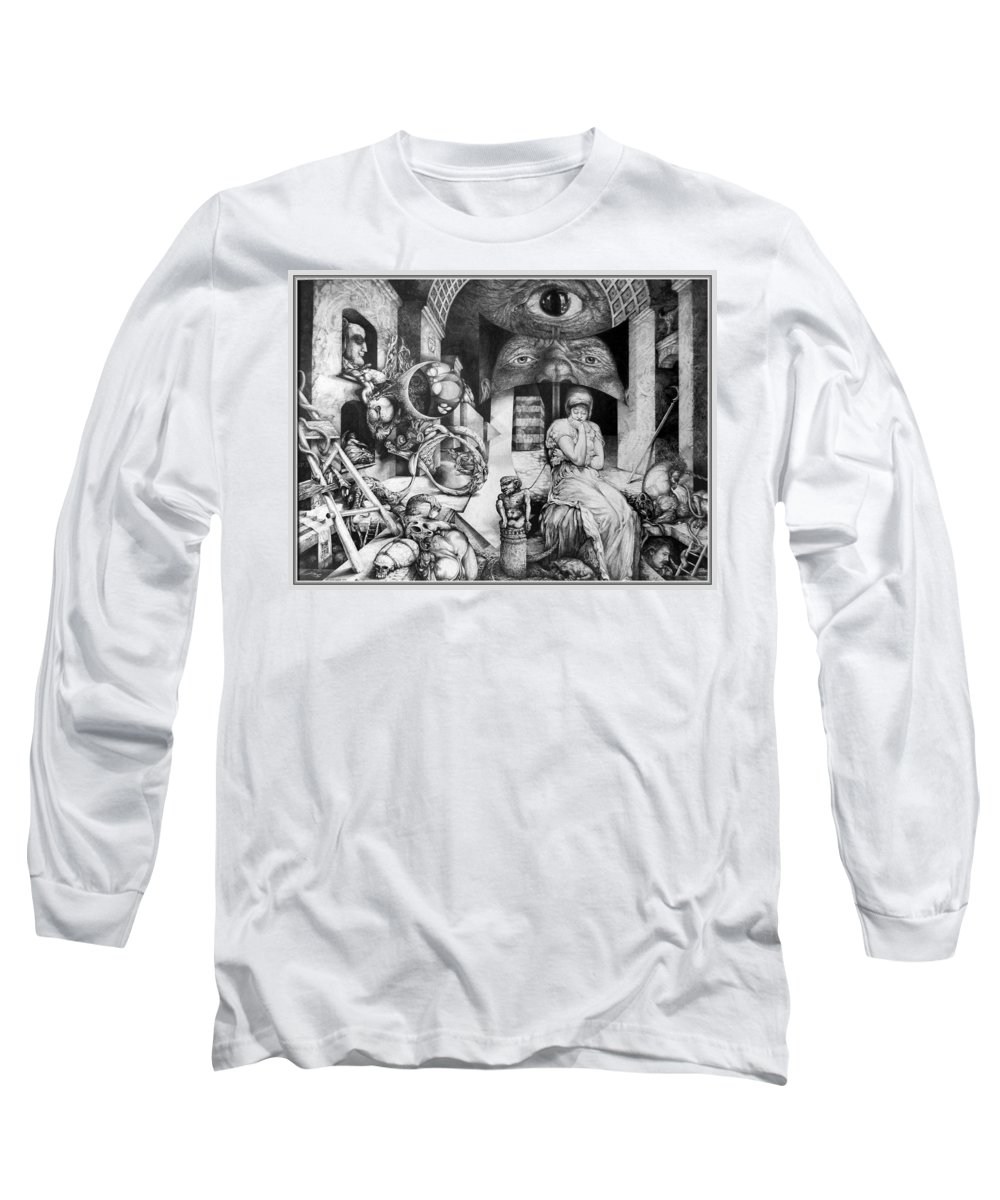 Surrealism Long Sleeve T-Shirt featuring the drawing Vindobona Altarpiece IIi - Snakes And Ladders by Otto Rapp