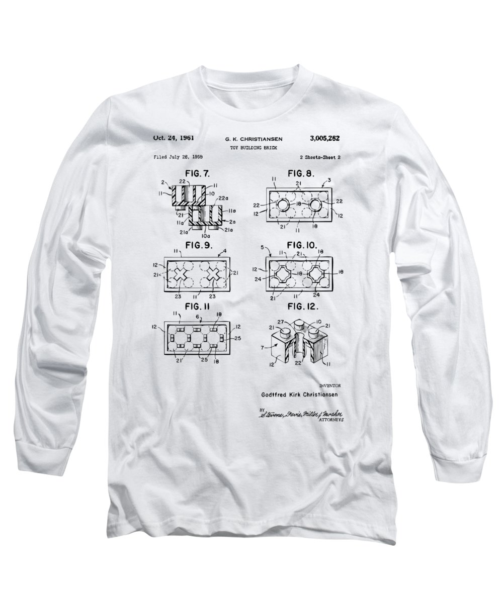 Toy Long Sleeve T-Shirt featuring the digital art Vintage 1961 Lego Brick Patent Art by Nikki Marie Smith