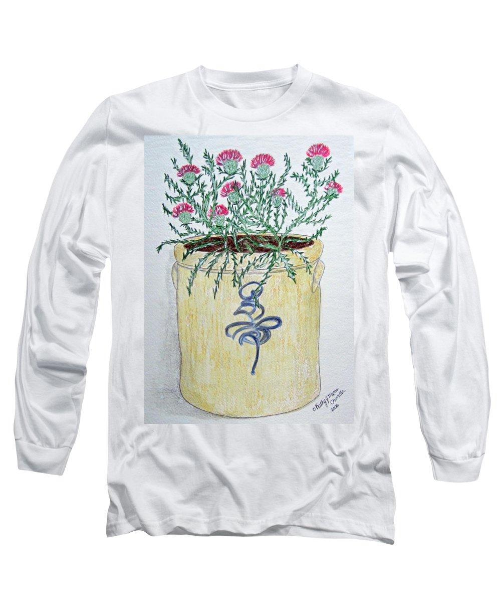 Vintage Long Sleeve T-Shirt featuring the painting Vintage Bee Sting Crock And Thistles by Kathy Marrs Chandler