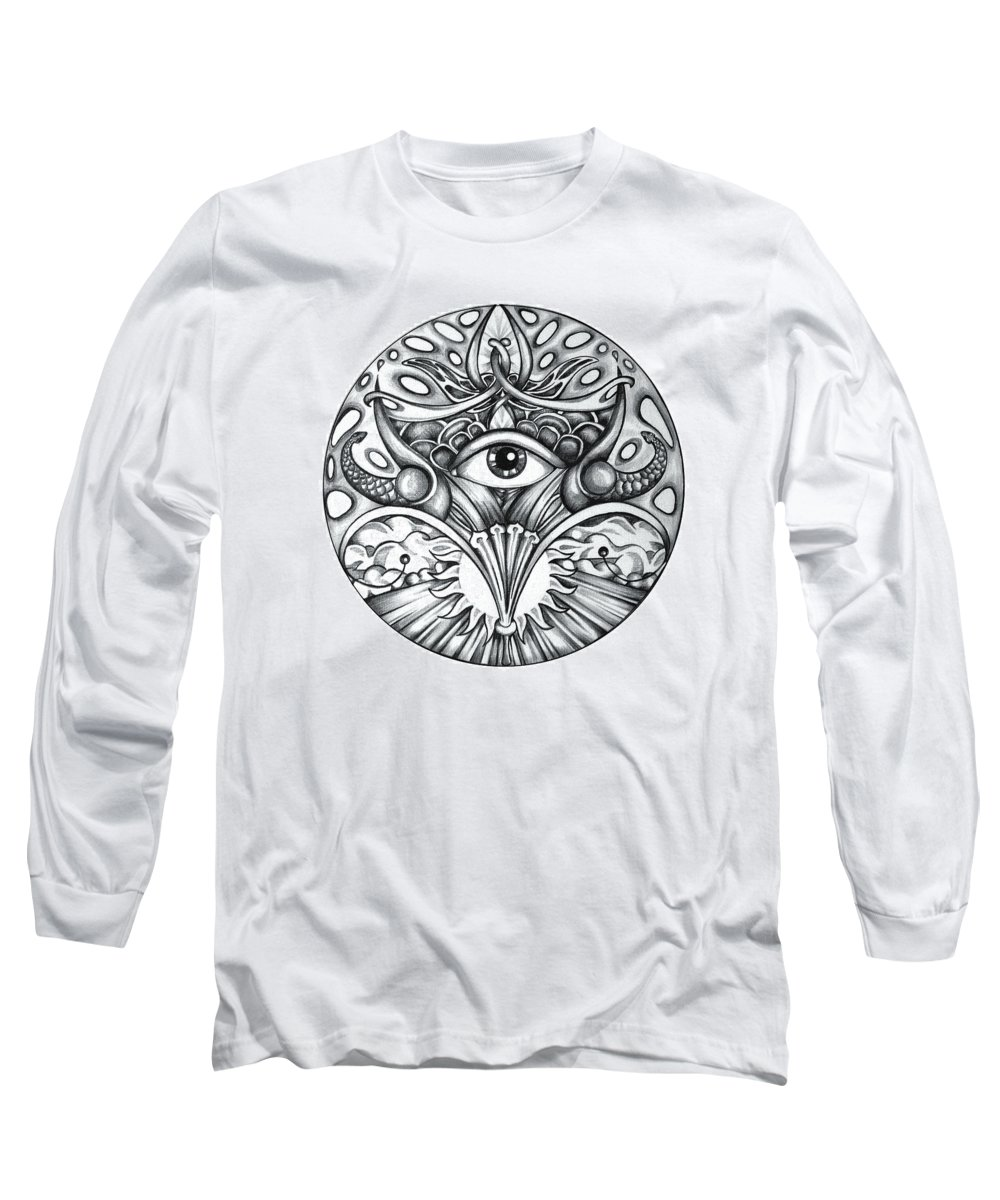 Eye Long Sleeve T-Shirt featuring the drawing Vision by Shadia Derbyshire