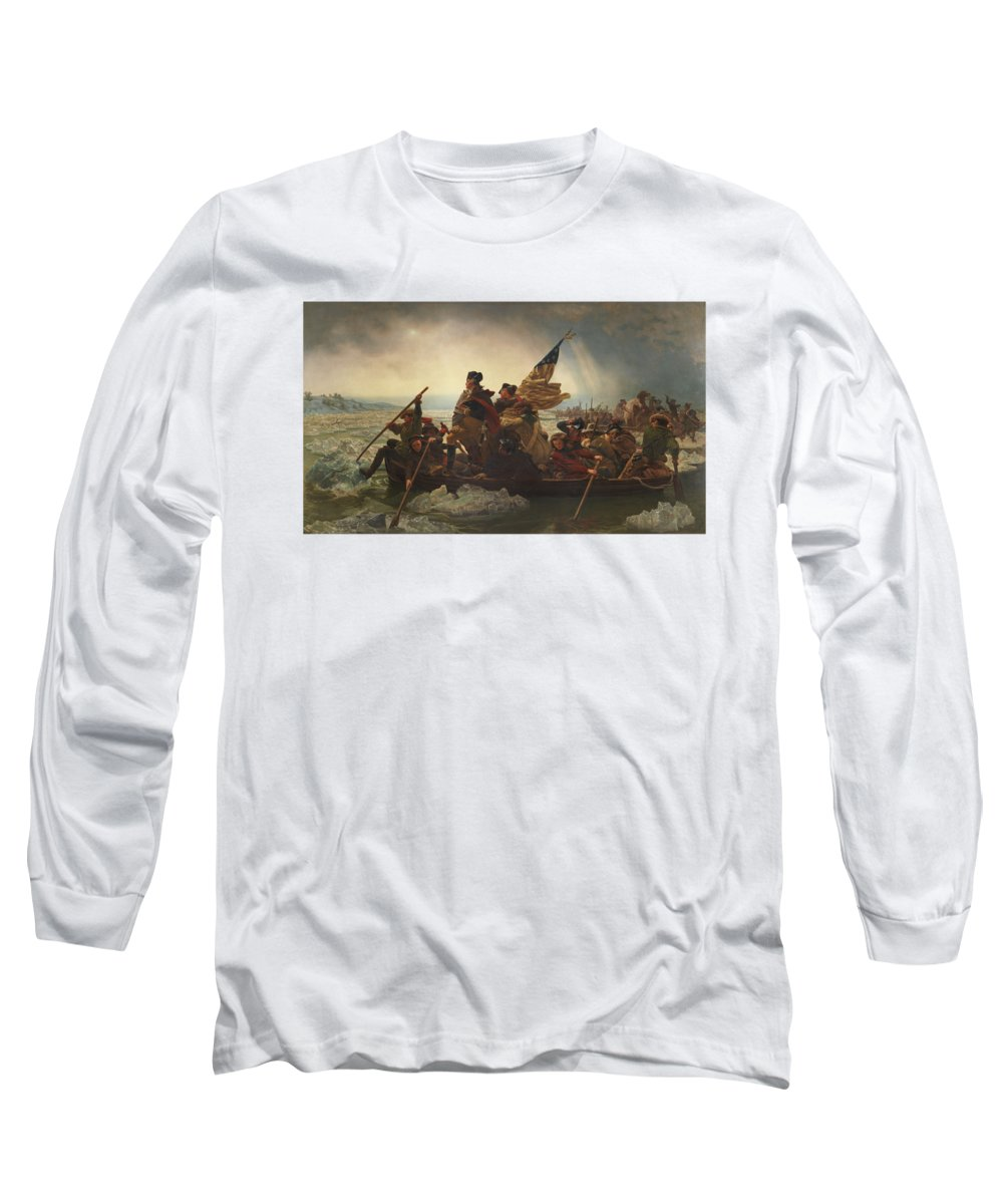 George Washington Long Sleeve T-Shirt featuring the painting Washington Crossing The Delaware by War Is Hell Store
