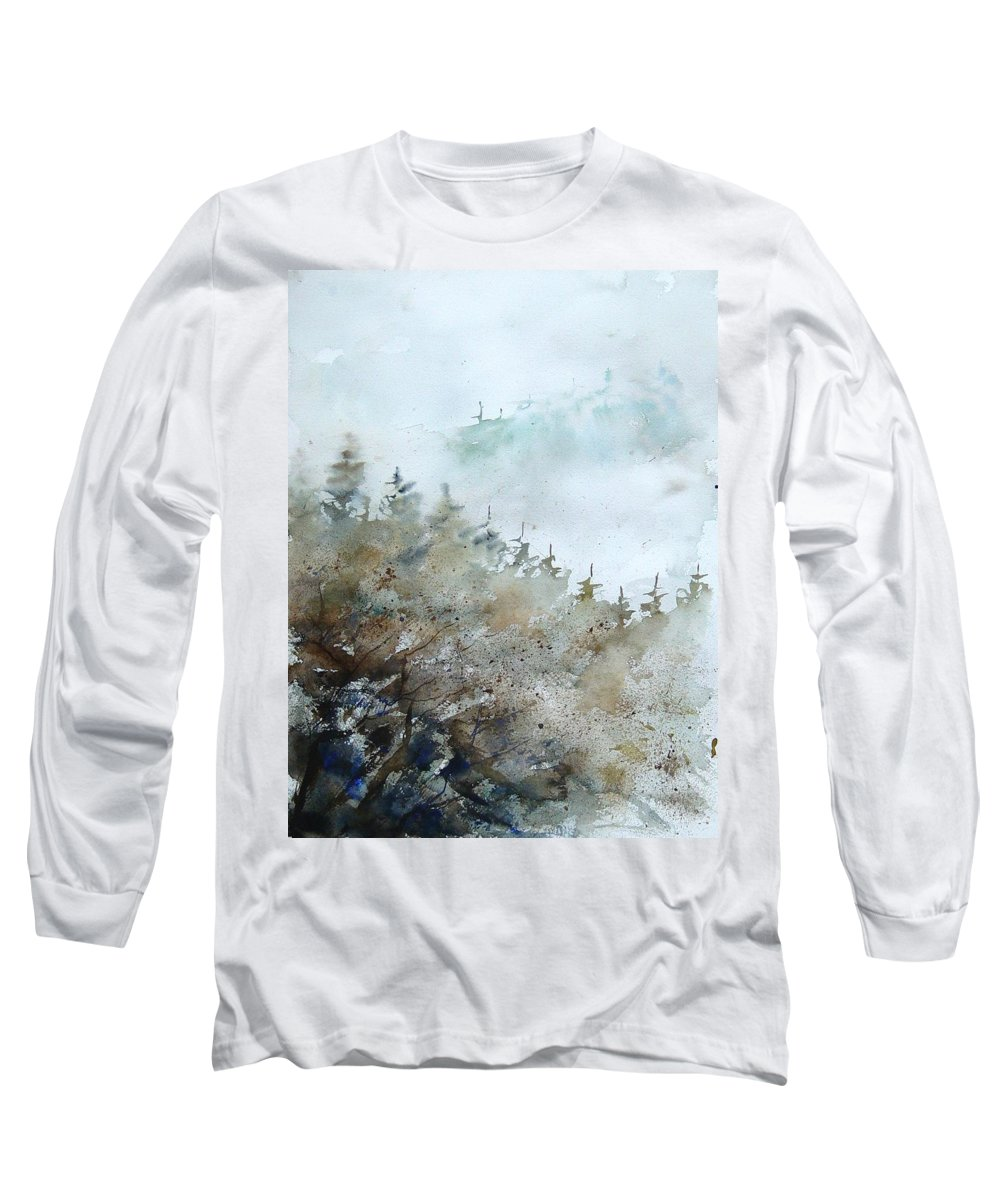 Tree Long Sleeve T-Shirt featuring the painting Watercolor 356214 by Pol Ledent