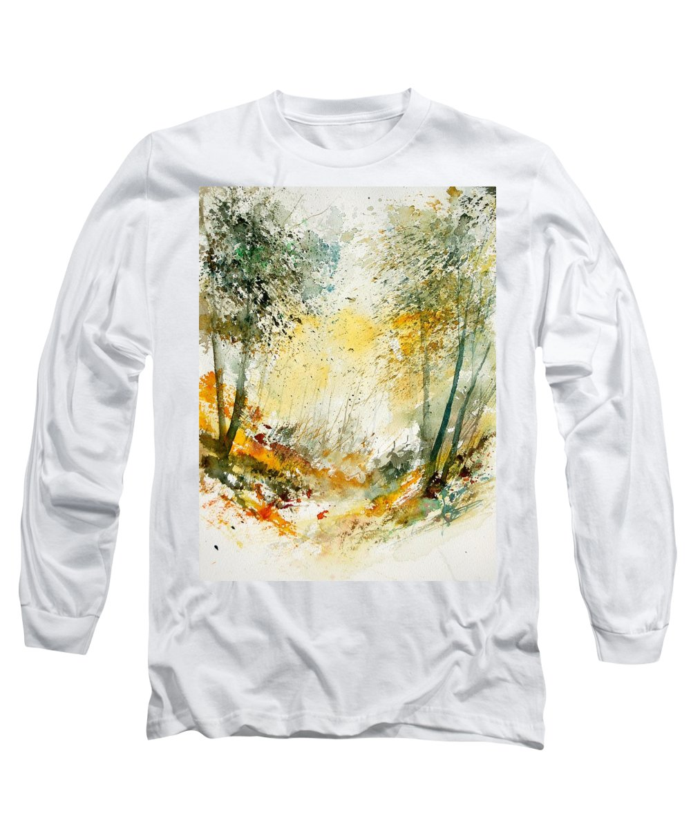 Tree Long Sleeve T-Shirt featuring the painting Watercolor 908021 by Pol Ledent
