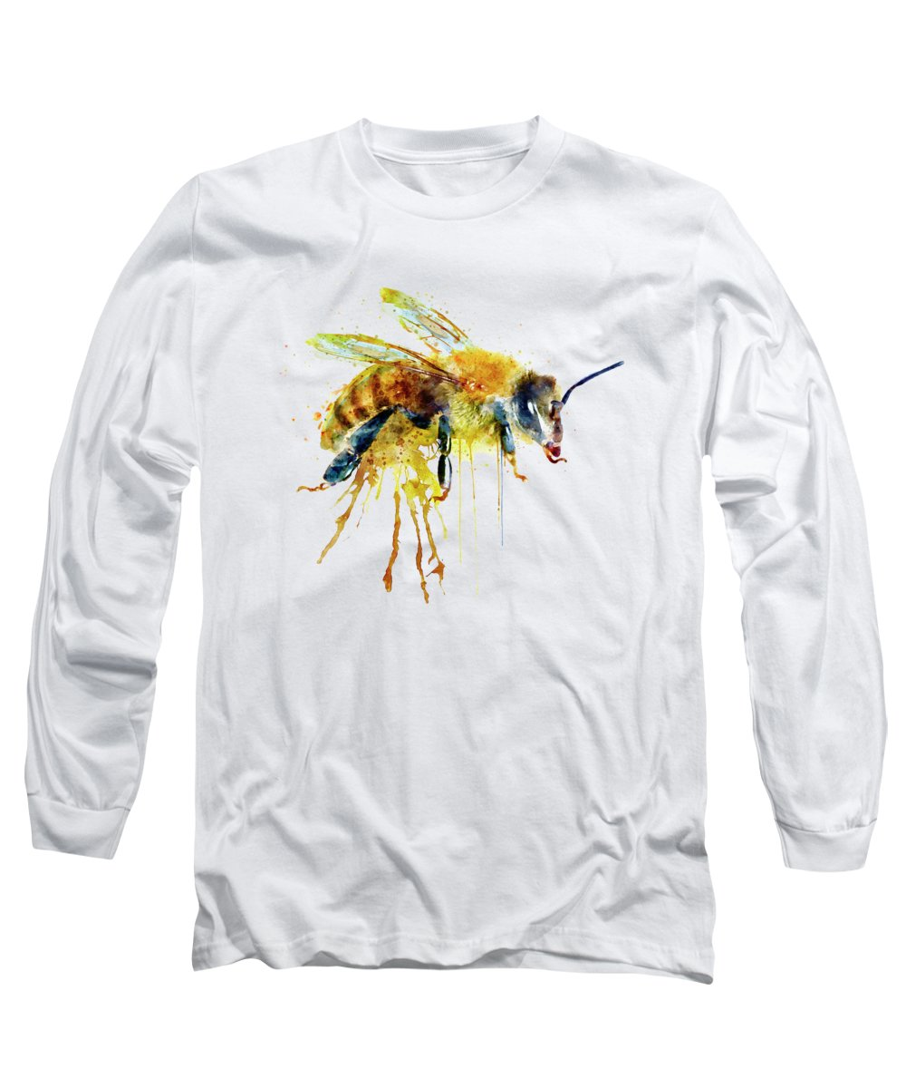 Watercolor Long Sleeve T-Shirt featuring the painting Watercolor Bee by Marian Voicu