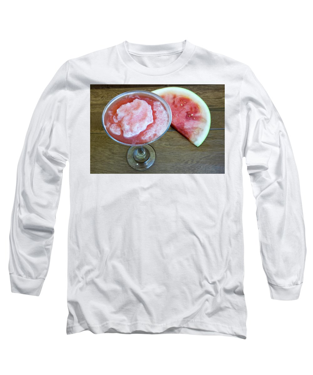 Beverage Long Sleeve T-Shirt featuring the photograph Watermelon Daiquiri Or Martini by Karen Foley