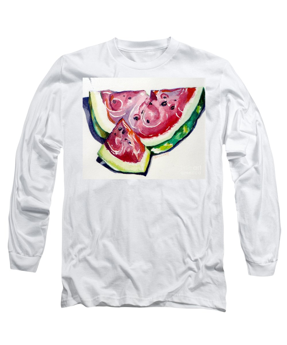 Still Life Long Sleeve T-Shirt featuring the painting Watermelon by Jan Bennicoff