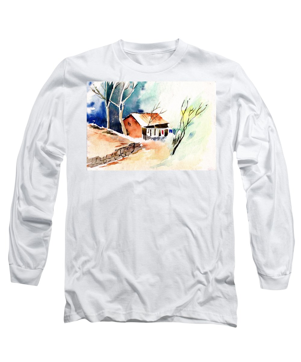 Nature Long Sleeve T-Shirt featuring the painting Weekend House by Anil Nene