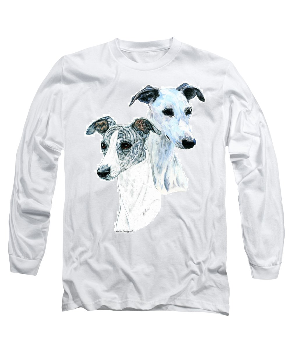 Whippet Long Sleeve T-Shirt featuring the painting Whippet Pair by Kathleen Sepulveda