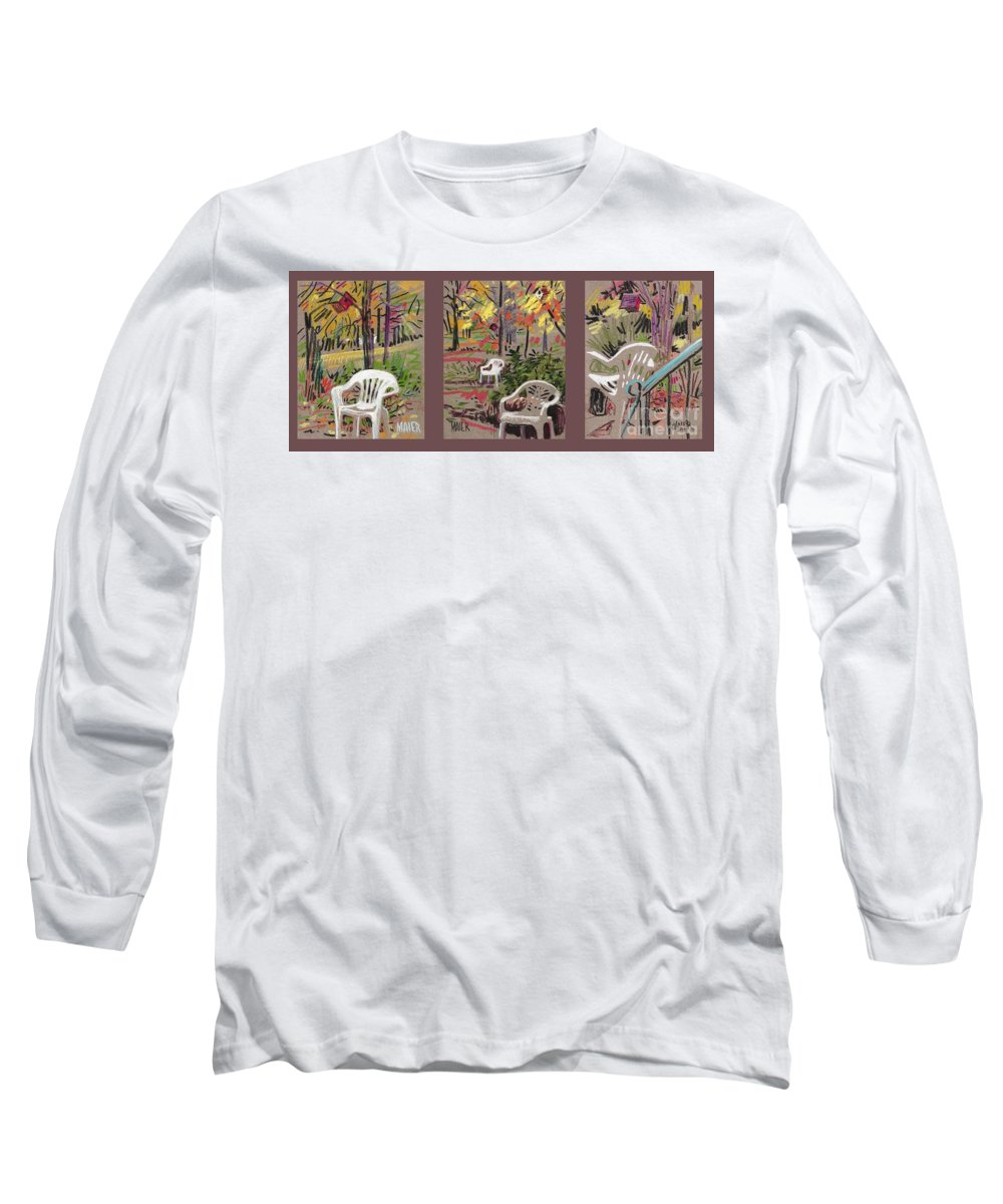 Pastel Long Sleeve T-Shirt featuring the drawing White Chairs And Birdhouses 1 by Donald Maier