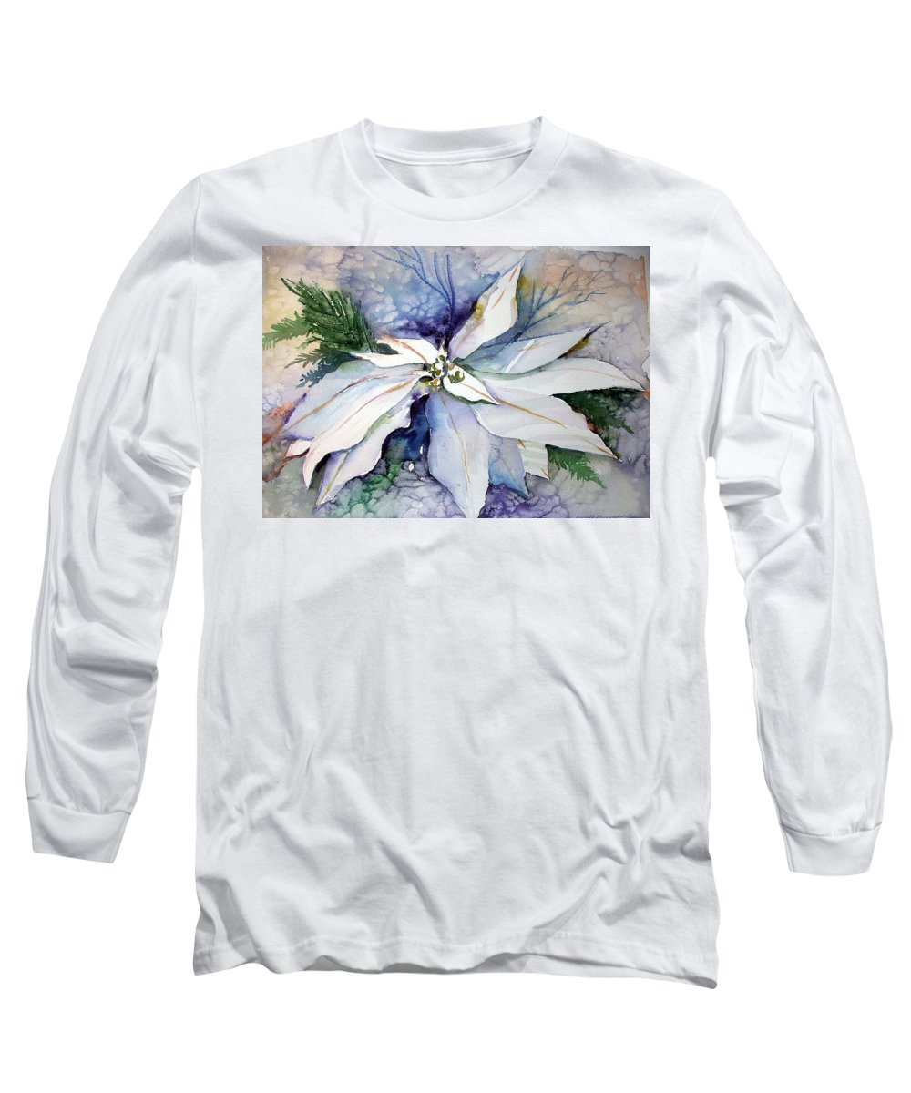 Floral Long Sleeve T-Shirt featuring the painting White Poinsettia by Mindy Newman