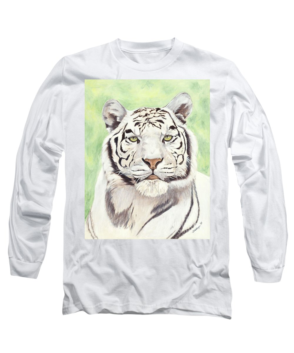 Tiger Long Sleeve T-Shirt featuring the painting White Silence by Shawn Stallings