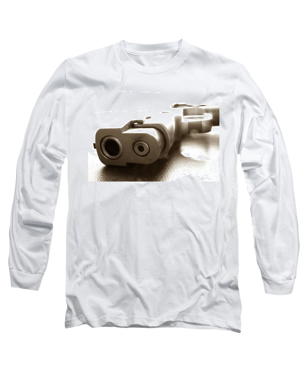 Gun Long Sleeve T-Shirt featuring the photograph Why by Amanda Barcon