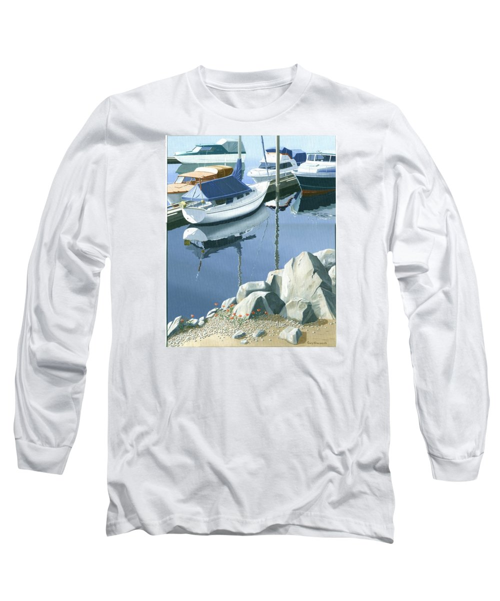 Sailboat Long Sleeve T-Shirt featuring the painting Wildflowers On The Breakwater by Gary Giacomelli