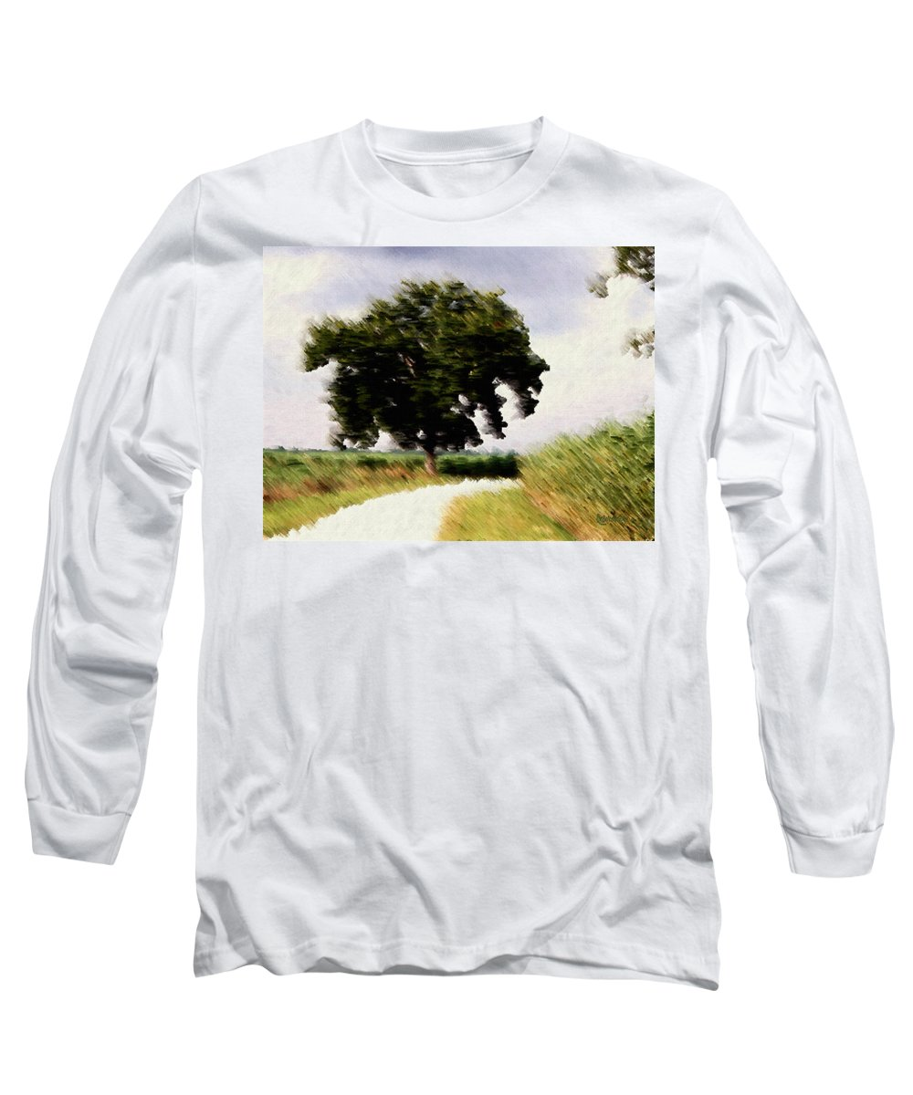 Breeze Long Sleeve T-Shirt featuring the digital art Wind Motif Old Dam Road by RC DeWinter