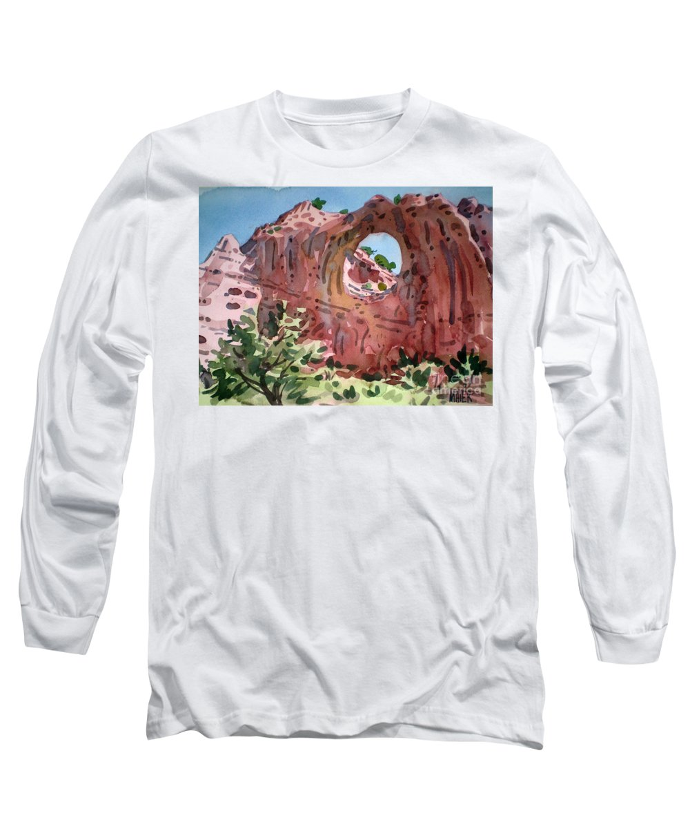 Navajo Tribal Park Long Sleeve T-Shirt featuring the painting Window Rock by Donald Maier