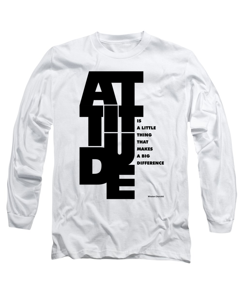 Motivational Art Long Sleeve T-Shirt featuring the digital art Winston Churchill Inspirational Typographic Quotes poster by Lab No 4 - The Quotography Department