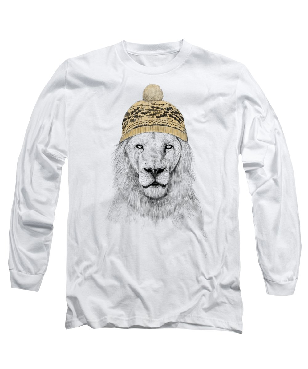 Lion Long Sleeve T-Shirt featuring the mixed media Winter is coming by Balazs Solti