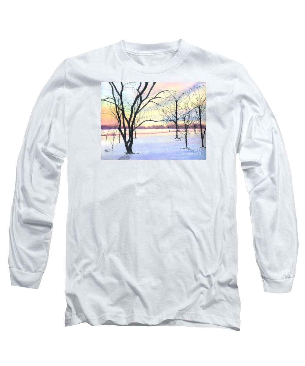Sunrise Long Sleeve T-Shirt featuring the painting Winter Sunrise by Lynn Quinn