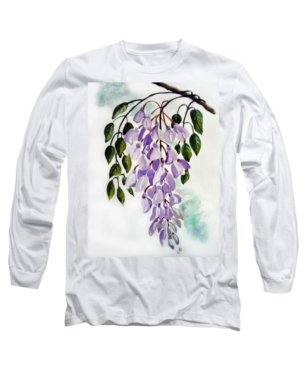 Floral Paintings Flower Paintings Wisteria Paintings Botanical Paintings Flower Purple Paintings Greeting Card Paintings  Long Sleeve T-Shirt featuring the painting Wisteria by Karin Dawn Kelshall- Best
