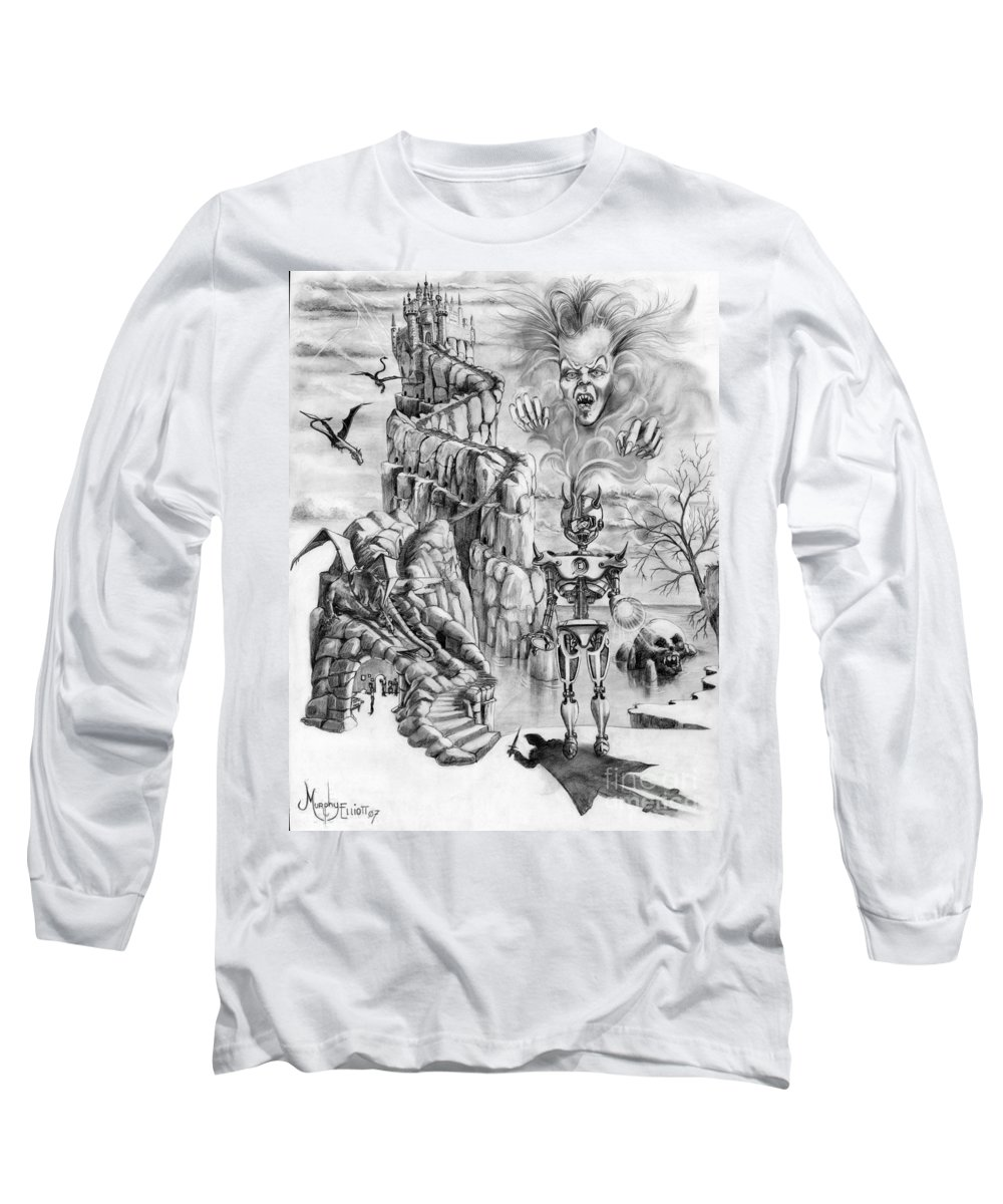 Witch Long Sleeve T-Shirt featuring the drawing Witch Hunter by Murphy Elliott