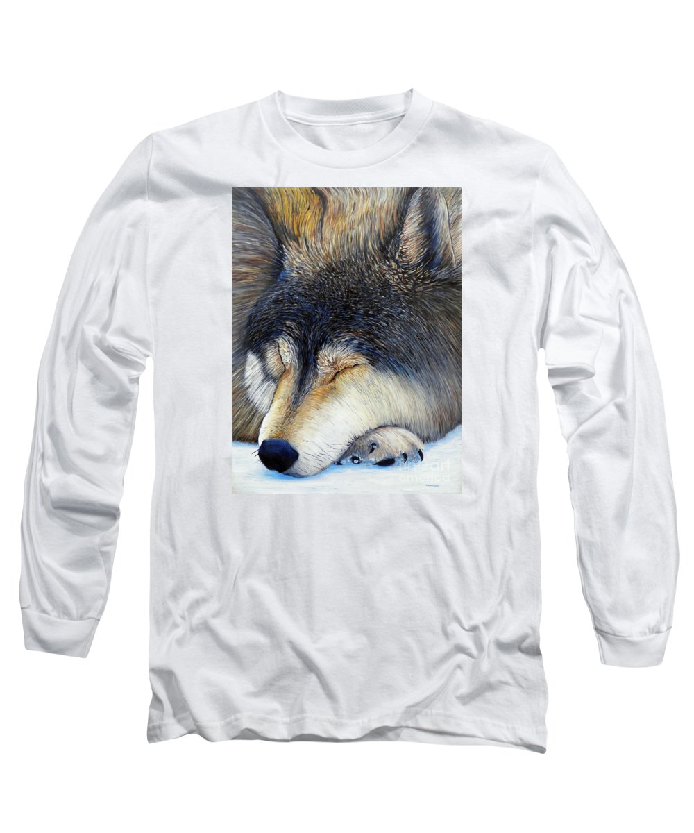 Wolf Long Sleeve T-Shirt featuring the painting Wolf Dreams by Brian Commerford