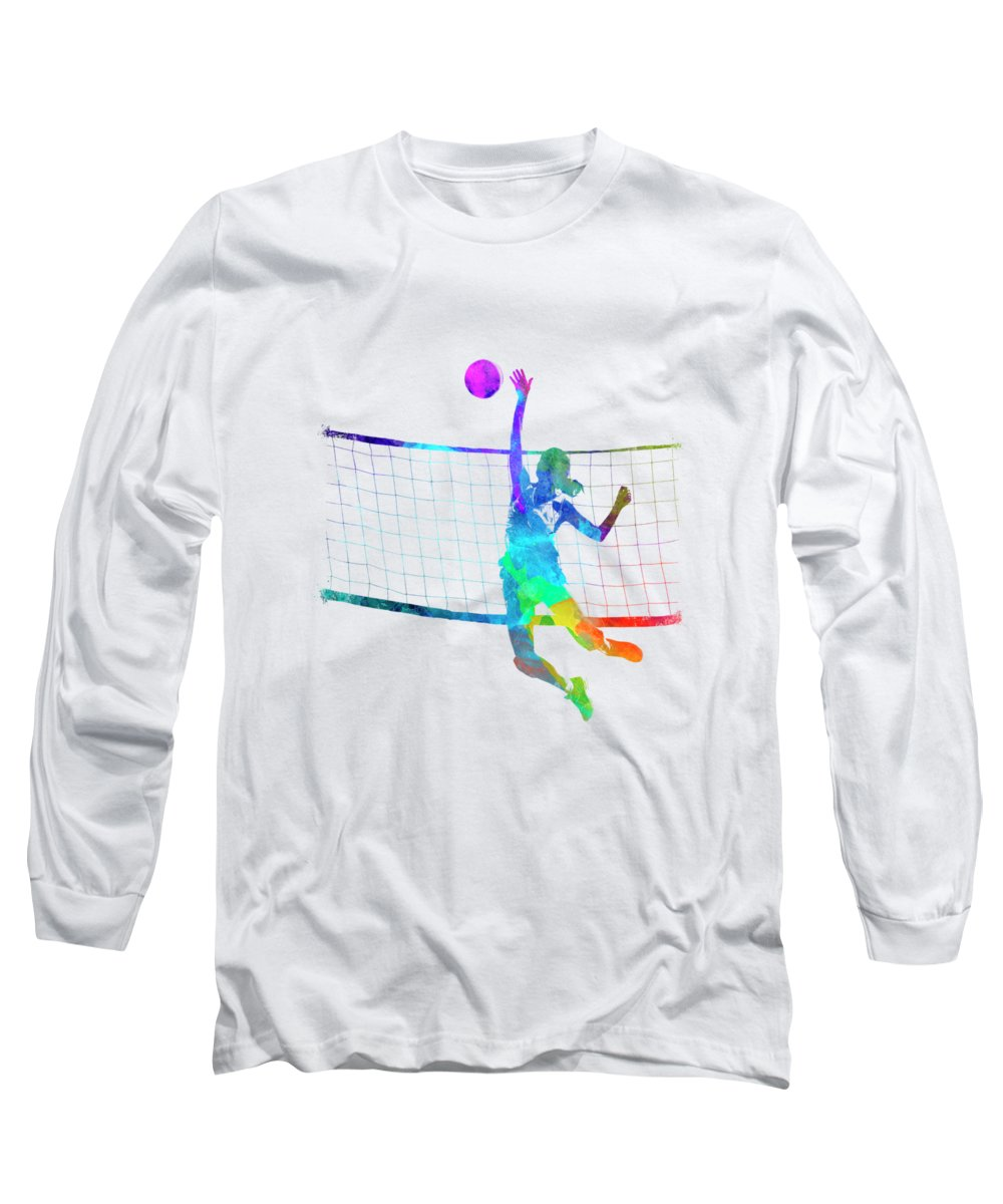 Isolated Long Sleeve T-Shirt featuring the painting Woman Volleyball Player In Watercolor by Pablo Romero