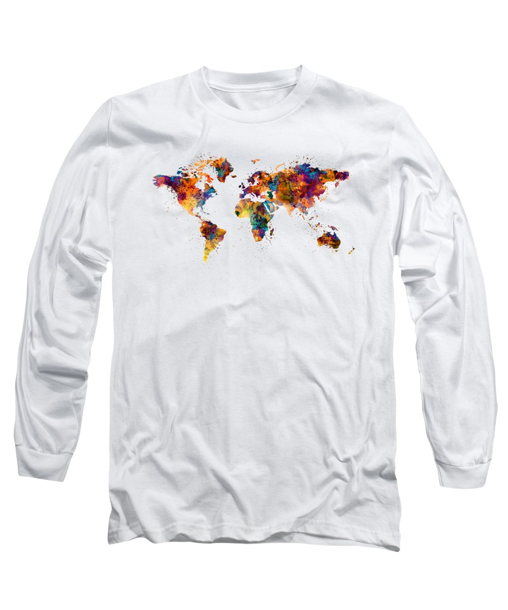 Map Of The World Long Sleeve T-Shirt featuring the painting World Map by Marian Voicu
