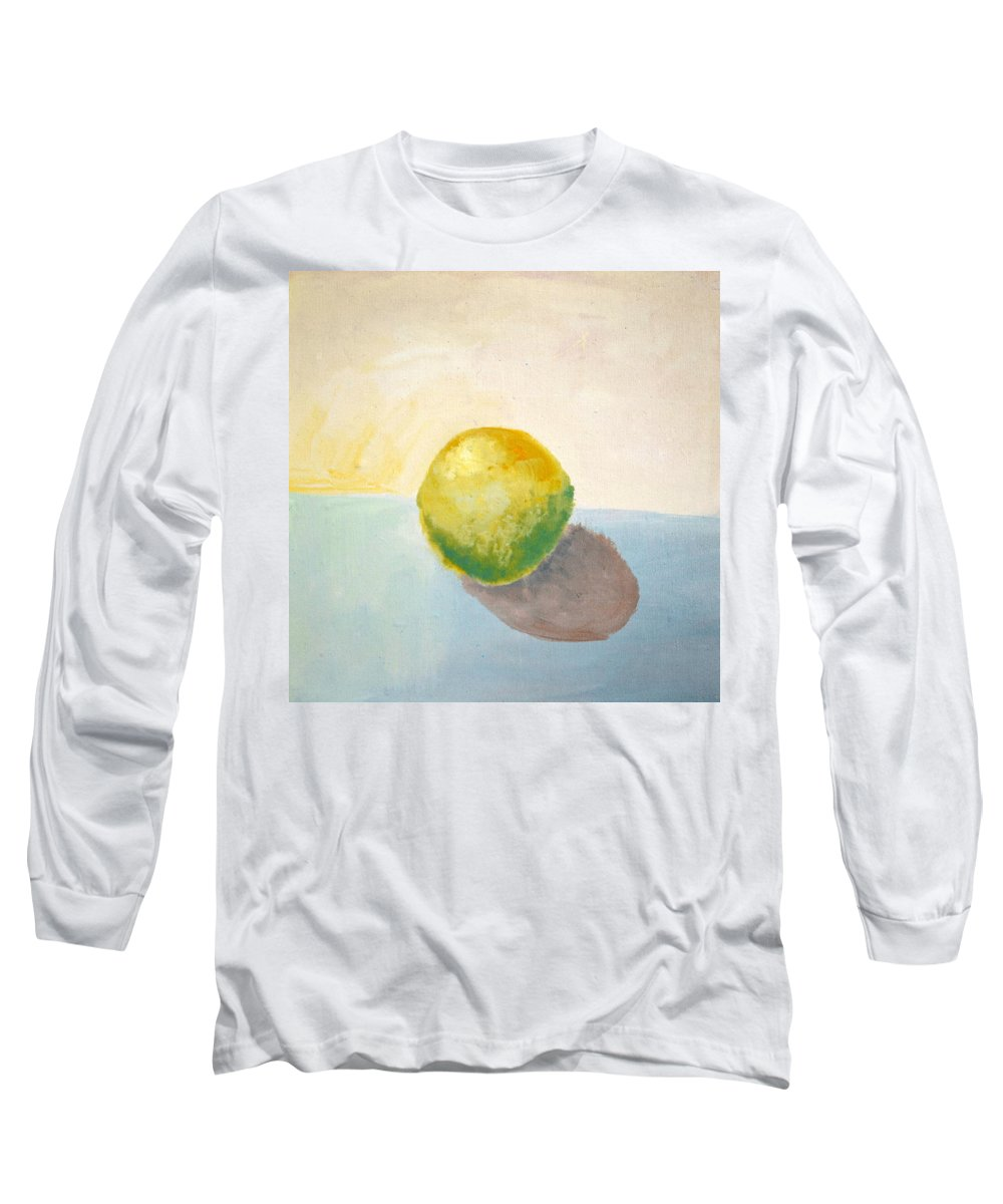 Lemon Long Sleeve T-Shirt featuring the painting Yellow Lemon Still Life by Michelle Calkins