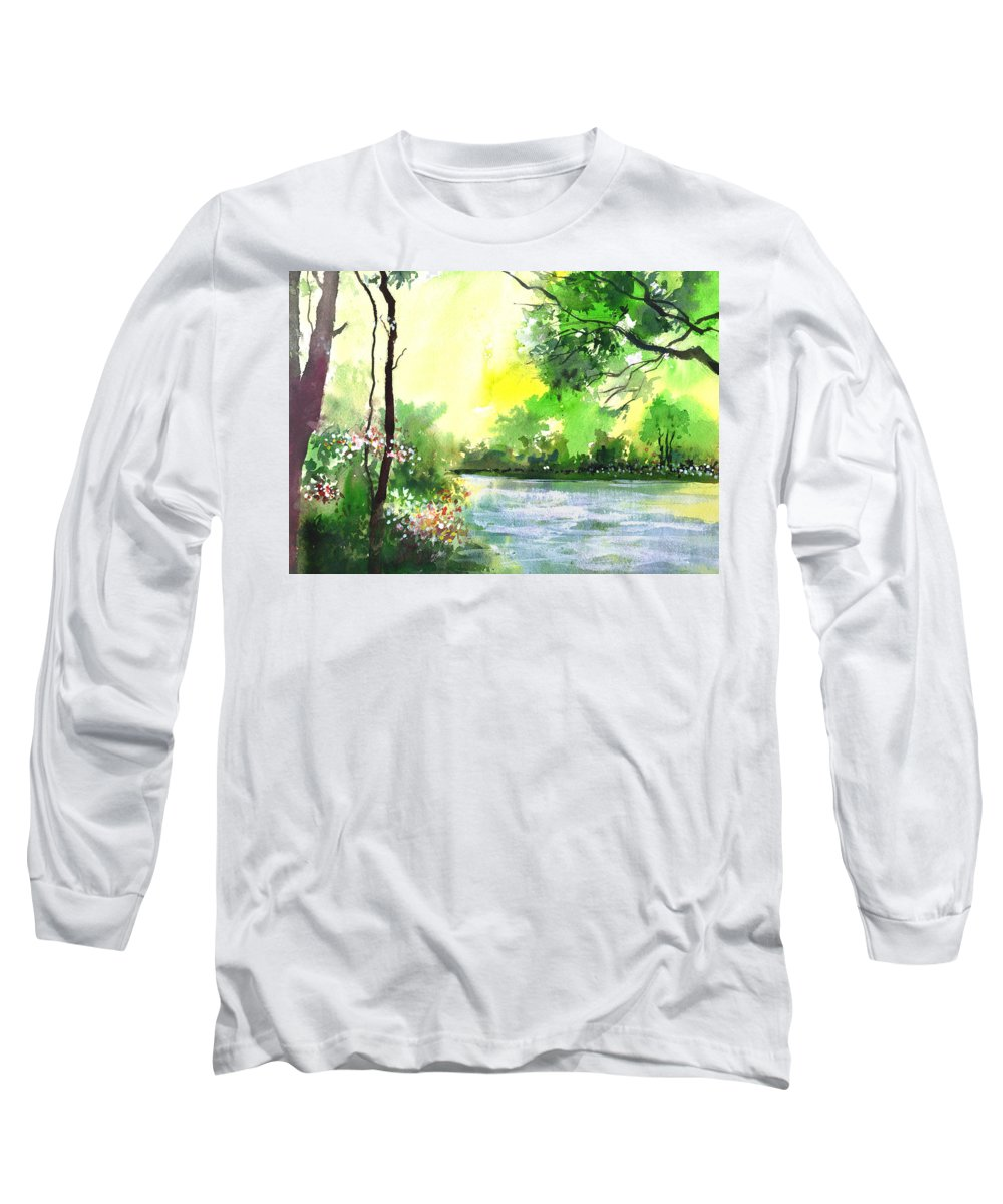 Sky Long Sleeve T-Shirt featuring the painting Yellow Sky by Anil Nene